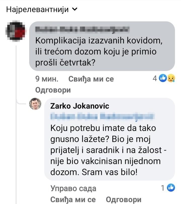 Žarko Jokanović: Nenad Nenadović nije bio vakcinisan 2