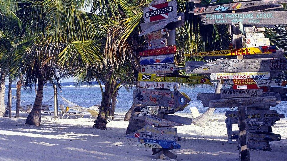 Signs on a beach on the Cayman Islands