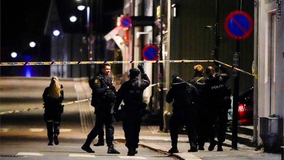 Armed police on the streets of Kongsberg after an attacker opened fire on people with a bow and arrow